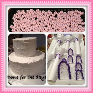 Flowers dotted, cake iced and windows glittered - all in a days work!